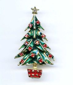 "Vtg 1970s XMAS Christmas Tree Enamel 2-3/16"" T Gold Tone Brooch Pin #NotSigned"
