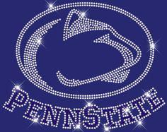 Penn State rhinestone transfer, Nittany Lions iron on PSU DIY hot fix transfer, college Football Rhinestone applique