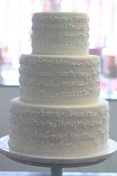 Wedding vows on cake! :) Gorgeous.