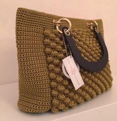 Items similar to Ochre and Brown handbag on Etsy Crochet Slouchy Hat, Crochet Tote, Crochet Shoes, Crochet Handbags, Crochet Purses, Bead Crochet, Slouch Hats, Sombrero A Crochet, Crochet World