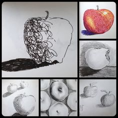 In a grid of 4: 1 apple in gesture (Line) 1 apple using charcoal (value) 1 apple using color 1 apple using cross hatch (textural) All apples show space, form, shape.