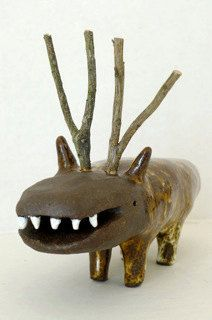 Small ceramic sculpture with lots of teeth by by Natasha & Godeleine