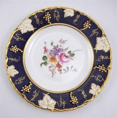 "8"" Salad Luncheon Plate Royal Crown Derby Vine Cobalt Blue English Bone China"
