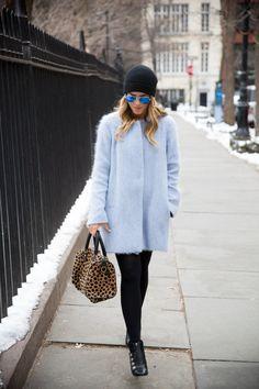 beanie and beautiful light blue coat