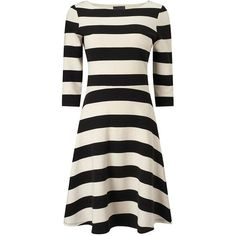 Ottoman Stripe Dress ($180) ❤ liked on Polyvore featuring dresses, striped dress, cocktail dresses, special occasion dresses, round neck dress and ivory evening dress