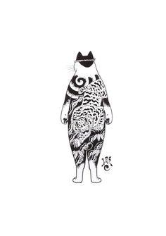 (с) Kazuaki Horitomo Kitamura Art And Illustration, Illustrations, Japanese Cat, Japanese Artwork, Asian Tattoos, Japan Art, Cat Tattoo, Cat Drawing, Cat Art