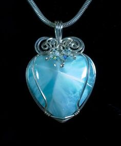 Larimar Heart  by Lyle Ang  Living Stones Creations  Mill City, Oregon. USA