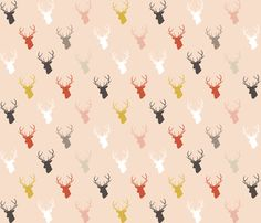 Holiday Pink Deer half scale fabric by mrshervi on Spoonflower - custom fabric