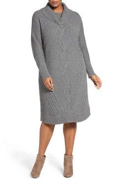 Caslon® Cowl Neck Sweater Dress (Plus Size)