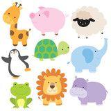 Vektor: Vector illustration of cute baby animal including giraffe, pig, turtle, sheep, penguin, elephant, frog, lion and hippo.