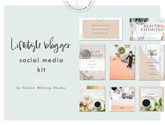 Lifestyle Blogger Social Media Kit by Golden Whimsy Studio on @creativemarket