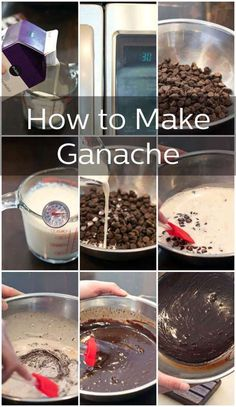 Learn How To Make Ganache, with this step-by-step photo tutorial. Rich chocolate ganache you can use in your holiday desserts. Icing Recipe, Frosting Recipes, Cake Recipes, Dessert Recipes, How To Make Chocolate, Homemade Chocolate, Chocolate Drip, Chocolate Frosting, Dark Chocolate Ganache Recipe