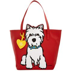 Marc Tetro Red Puppy Tote ❤ liked on Polyvore featuring bags, handbags, tote bags, purses, totes, tote hand bags, red tote, white handbags, red purse and handbags totes