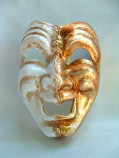 Commedia Smile Gold/White - Venetian Masks from Venice, Italy - 1001 Venetian Masks