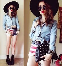 "Sheinside Denim Light Wash Blouse, Romwe American Flag Print Shorts, Yes Style Buckle Boots //""AMERICANA SUMMER"" by Bebe Zeva // LOOKBOOK.nu"