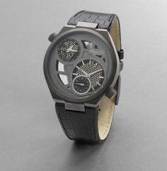 Hematite Round Watch With Croco-Embossed Strap - Kenneth Cole