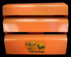 Vintage Salmon Kitchen Dispenser with Farm  Rooster Motif