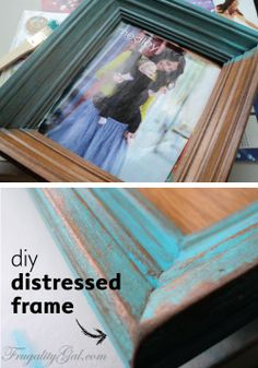 Simple DIY tutorial for a vintage distressed look on picture frames.