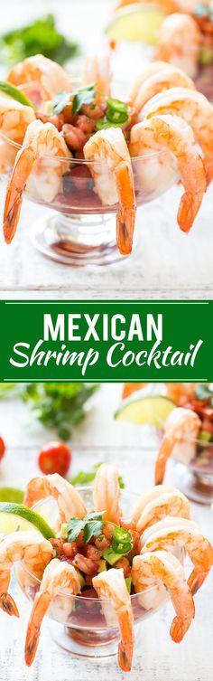 Mexican Shrimp Cocktail (coctel de camarones) - Fresh shrimp served with a zesty cocktail sauce and a refreshing tomato avocado relish.