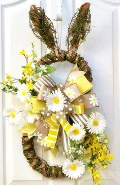 Easter Wreath for front door, Easter Door Hanger, yellow Easter Wreath, Moss Bunny Wreath, Rabbit Wreath, Spring Wreath, door wreath daisies by PinkBluebonnet on Etsy