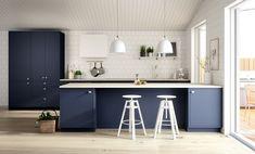 Sigdal Kjøkken - Line Inframe Inframe Kitchen, Blue Kitchen Island, Kitchen Design, Fredrikstad, Kitchen Stories, Kitchens, Design Inspiration, Kitchen Inspiration, Studio