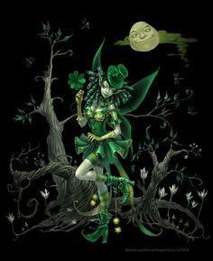 Four Clover Fairy by Anna Ignatieva Anna, Fairy Land, Pretty Art, Children's Book Illustration, Faeries, Animated Gif, Fantasy Art, Fantasy Fairies, Creations