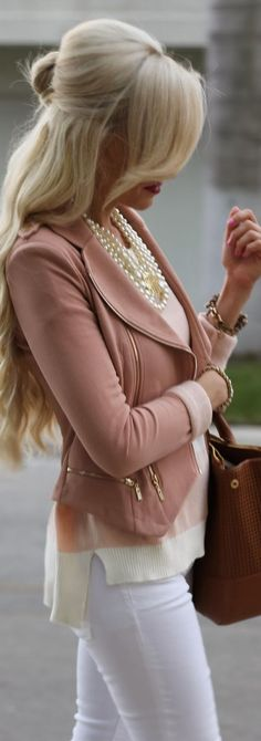 Spring Fashion 2014. Soft nude & rose play perfectly off the white denim.