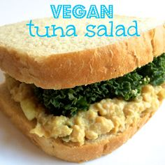 Vegan tuna salad made with garbanzo beans! Tastes just like the real thing but has way less calories and fat. - VegAnnie.com