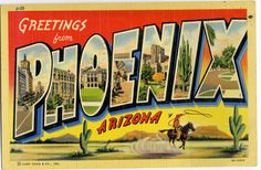 Greetings from #Phoenix #Arizona - vintage postcard