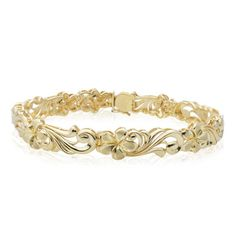 I want this!!!  Love it!!  first thing I'm buying...when I win the lottery! LOL Hawaiian Jewelry - Plumeria - QUEEN PLUMERIA LINK BRACELET sale price 2233.00 (reg 3190.00)