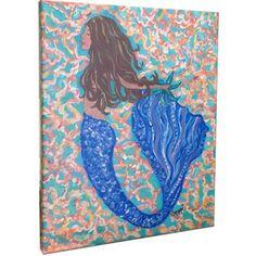 My Island Mermaid Brunette Mounted by Gerri Hyman Painting Print on Canvas & Reviews | Wayfair
