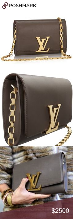 Louis Vuitton Louise taupe gold chain LV handbag In excellent condition except for minor surface scratching on the gold LV logo. Easy fix thru LV or a local jeweler. Priced accordingly. This purse goes with everything! It's a perfect wardrobe staple waiting to be loved by its new owner! Louis Vuitton Bags Shoulder Bags