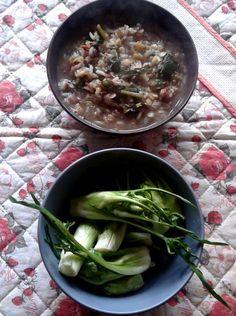 minestra di risi e lenticchie con cicoria; puntarelle in pinzimonio