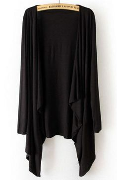 Black Long Sleeve Asymmetrical Cape Outerwear