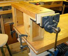 A traveling workbench, inspired by Steve Latta, is a removable mini workbench that clamps on top of a regular work bench (or other handy surface). The advantage for me is that it brings small work up to easy eye height, something that seems to be more and more of a problem lately. It's a nice addition for the fussy smaller scale work.