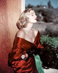ID'd by another pinner as the late Anita Ekberg, in an off-the- shoulder red satin dress. I don't know if this is really Anita Ekberg. Glamour Vintage, Glamour Hollywoodien, Mode Glamour, Vintage Beauty, Pin Up Vintage, Vintage Glamour Photography, Glamour Party, Glamour Makeup, Vintage Vogue
