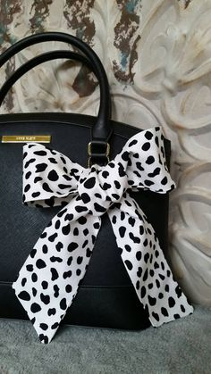 Cow Print Graphic Purse Scarf Black White Scarf Neck by CindiLuv