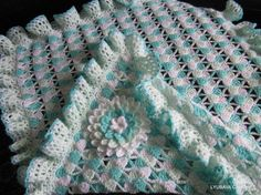 Crochet Baby Blanket Ruffled Border Tutorial Pattern, Crochet 3D Aster Flower Pdf, Instant Download Lyubava Crochet Patterns number 24, 21, via Etsy.