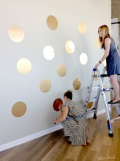 DIY this gold polka dot wall  #diy #crafts gold polka, diy gold, polka dots, baby girl rooms, dot wall, girl nurseries, office walls, little girl rooms, accent walls