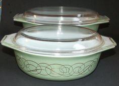 Vintage Pyrex Sage Green Gold Scroll #043 & 045 1.5 / 2.5 qt Casserole Lids in Pottery & Glass, Glass, Glassware   eBay