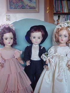 MADAME ALEXANDER COMPOSITION VINTAGE USED PORTRAIT GROOM & WENDYANN BRIDE DOLLS!