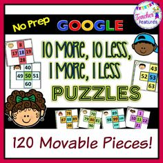 Google Classroom 10 More, 10 Less, 1 More, 1 Less: (Common Core Standard 1.NBT.C.5.) Your students in grades 1 & 2 will learn to visualize how to add and subtract by 10's. This is an awesome and simple teaching tool to go with your 100's chart. #tptdigital