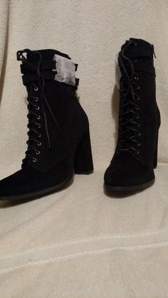 a505deb434f New GRETCHEN Women Military Black Suede High Cut Side Zip Heel Boots   fashion  clothing  shoes  accessories  womensshoes  boots (ebay link)