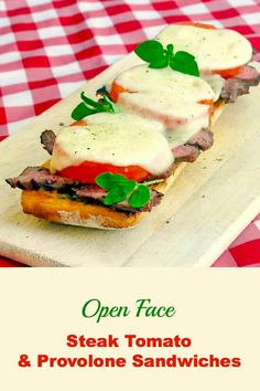Open Face Tomato Provolone Steak Sandwich - a terrific way to use leftover grilled steak or a tasty way to stretch 1 large steak to feed the whole family. Grilled Burger Recipes, Grilled Sandwich, Beef Sandwich, Grilled Meat, Steak Recipes, Cooking Recipes, Steak Sandwiches, Grilled Cheeses, Cheese Stuffed Mushrooms