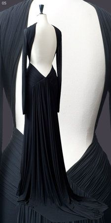 Guy Laroche Navy Long-Sleeved Backless Gown Profile Photo
