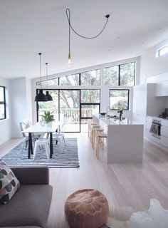 bright space with beautiful windows + diamond light pendant