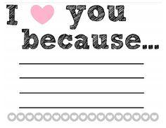 Free printable love note Alexa Jean: I love you because//