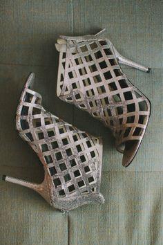 Silver lattice wedding shoes