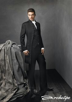 love the simplicity of this look as well as the military effect given by the jacket VINTAGE MENS Wedding Morning Tuxedo Formalwear Suits Vest Pants Set Discount New Tuxedo Wedding, Wedding Men, Wedding Suits, Gothic Wedding, Wedding Ideas, Mens Attire, Mens Suits, Smoking Vintage, Vintage Tuxedo