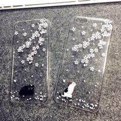 White Cat Black Cat under Sakura Japanese style iPhone6/6 plus special case